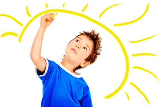 Child with sun drawing